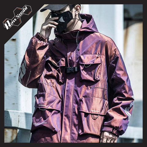 RawSushiApparel Jackets / Coats RED / S RSA3 Colorful Reflective Multi-Pocket Harajuku Jacket