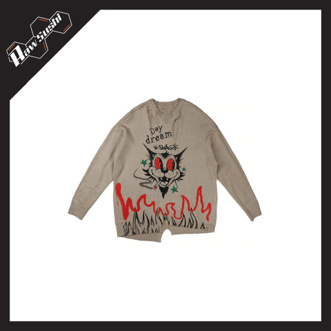 "RawSushiApparel Sweatshirts RSD6 ""Smoking Cat"" Print Oversize Sweater"