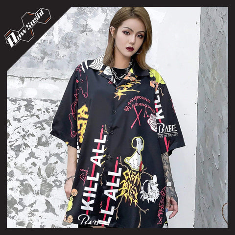 "RawSushiApparel Sweatshirts BLACK / S RSG4 ""Cartoon Graffiti"" Print Harajuku Streetwear Shirt"
