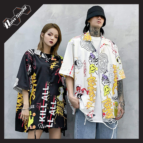 "RawSushiApparel Sweatshirts RSG4 ""Cartoon Graffiti"" Print Harajuku Streetwear Shirt"