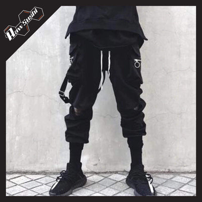 RawSushiApparel Bottoms XS RSG5 Casual Hole Zipper Pockets Cargo Pants