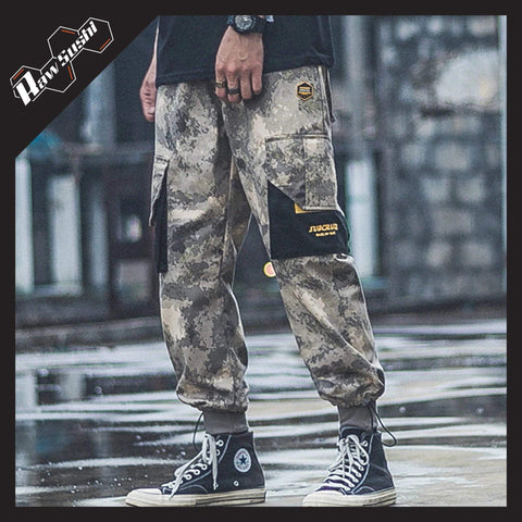RawSushiApparel Bottoms YELLOW CAMOUFLAGE / S RSH6 Big Pockets Camouflage Streetwear Cargo Pants