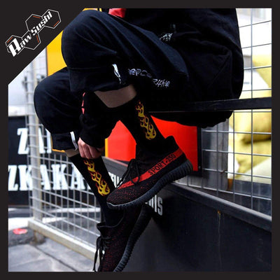 RawSushiApparel Accessories RSK4 Flames Printed Harajuku Socks