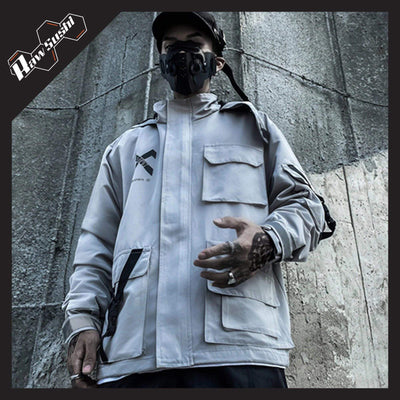 RawSushiApparel Jackets / Coats GRAY / XL RSM7 Refelective Patchwork Cargo Jackets