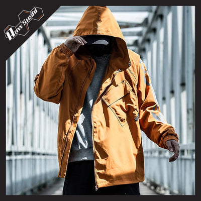 RawSushiApparel Jackets / Coats ORANGE / XL RSN2 Reflective Print Windbreaker