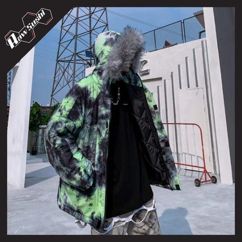 RawSushiApparel Jackets / Coats GREEN / M RSP5 Creative Printed Harajuku Streetwear Winter Jacket