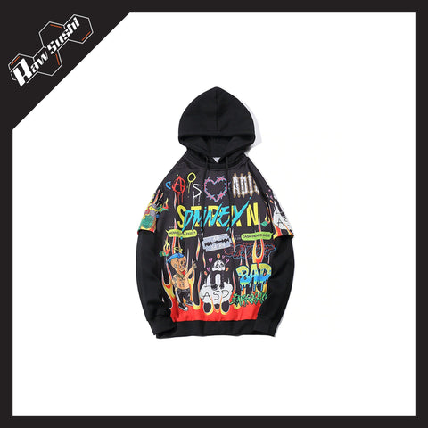 RawSushiApparel Hoodies BLACK / M RSS9 Cartoon Printed Harajuku Hoodie