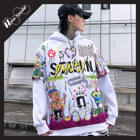 RawSushiApparel Hoodies WHITE / M RSS9 Cartoon Printed Harajuku Hoodie
