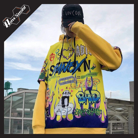 RawSushiApparel Hoodies YELLOW / M RSS9 Cartoon Printed Harajuku Hoodie