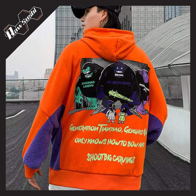 RawSushiApparel Jackets / Coats ORANGE / M RST5 Monster Printed Streetwear Hoodie