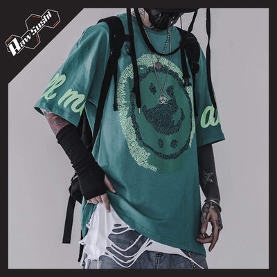 RawSushiApparel Tees GREEN / XS RSW1 Graffiti Smiley Printed Harajuku Tee