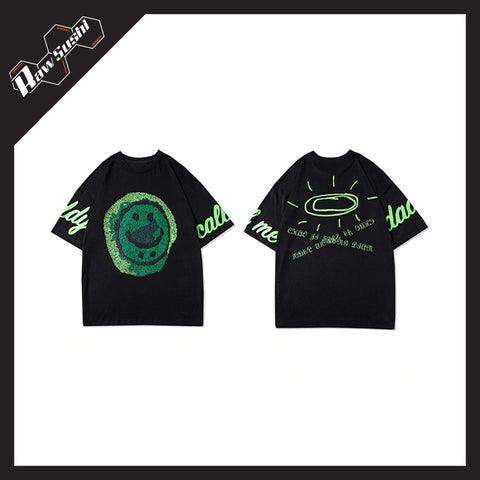 RawSushiApparel Tees RSW1 Graffiti Smiley Printed Harajuku Tee