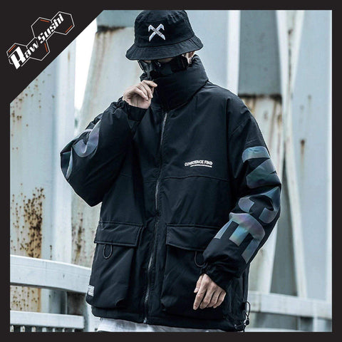 RawSushiApparel Jackets / Coats BLACK / S RSZ7 Casual Reflective Tech Cargo Jacket