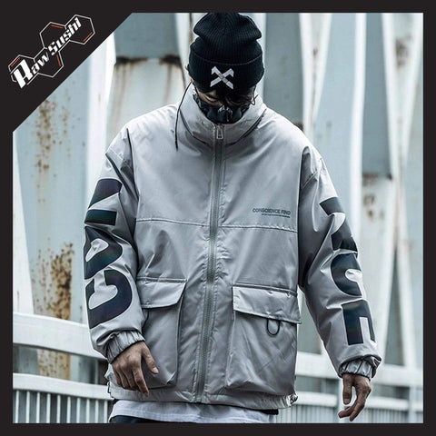 RawSushiApparel Jackets / Coats GRAY / S RSZ7 Casual Reflective Tech Cargo Jacket