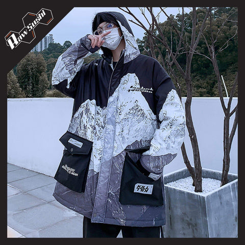 RawSushiApparel Jackets / Coats BLACK / S RTA2 Mountain Printed Harajuku Winter Jacket