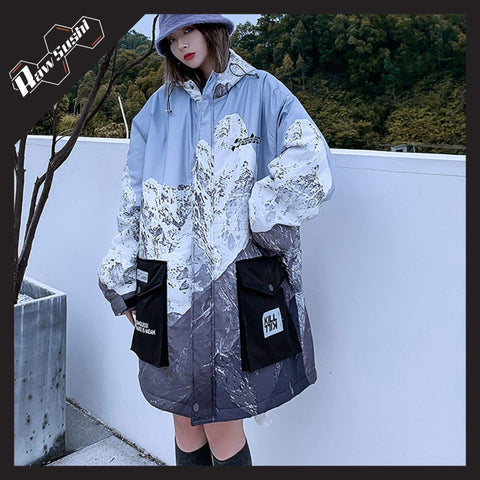 RawSushiApparel Jackets / Coats BLUE / S RTA2 Mountain Printed Harajuku Winter Jacket