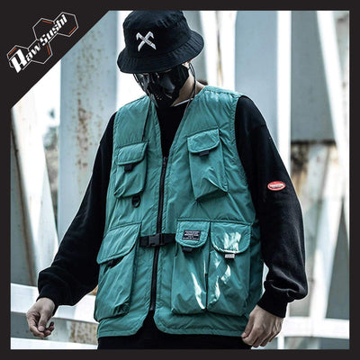 RawSushiApparel Jackets / Coats GREEN / XL RTA5 Casual Tech Multi-Pockets Streetwear Vest