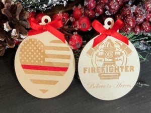 Firefighter Chirstmas Ornament - South City Woodworks wooden american flag military law enforcement first responder firefighter army navy air force marines retirement gift st louis custom per