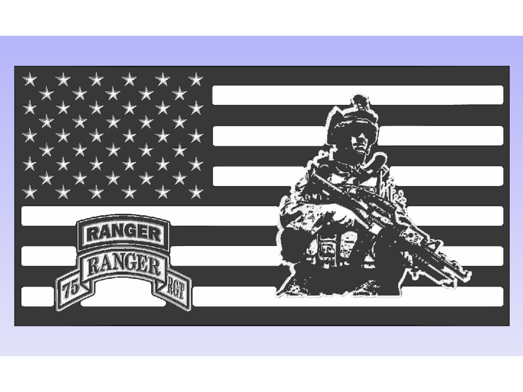 75th Ranger Rgt. Soldier Flag - South City Woodworks wooden american flag military law enforcement first responder firefighter army navy air force marines retirement gift st louis custom personalized
