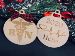 RN Heroes Christmas Ornament - South City Woodworks wooden american flag military law enforcement first responder firefighter army navy air force marines retirement gift st louis custom perso