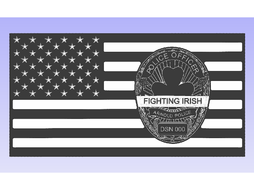 Arnold Fighting Irish - South City Woodworks wooden american flag military law enforcement first responder firefighter army navy air force marines retirement gift st louis custom personalized
