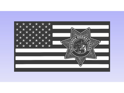 California Highway Patrol - South City Woodworks wooden american flag military law enforcement first responder firefighter army navy air force marines retirement gift st louis custom personal