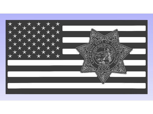California Department of Corrections Badge Flag - South City Woodworks wooden american flag military law enforcement first responder firefighter army navy air force marines retirement gift st