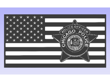 Load image into Gallery viewer, Chicago PD Officer Flag - South City Woodworks wooden american flag military law enforcement first responder firefighter army navy air force marines retirement gift st louis custom personalized