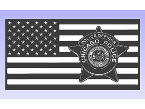Chicago PD Officer Flag - South City Woodworks wooden american flag military law enforcement first responder firefighter army navy air force marines retirement gift st louis custom personalized