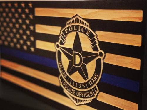Dallas Police Badge Flag - South City Woodworks wooden american flag military law enforcement first responder firefighter army navy air force marines retirement gift st louis custom personali