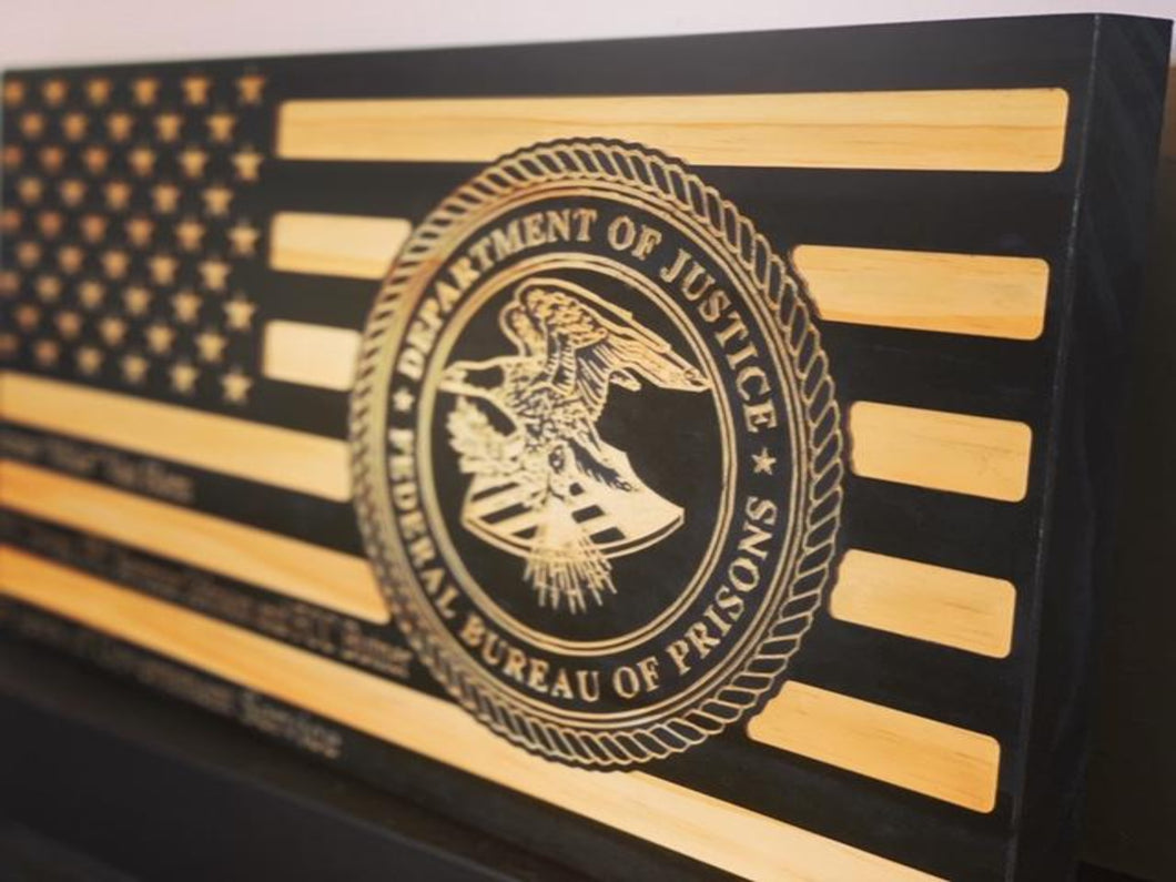 Federal Bureau of Prisons - South City Woodworks wooden american flag military law enforcement first responder firefighter army navy air force marines retirement gift st louis custom personal
