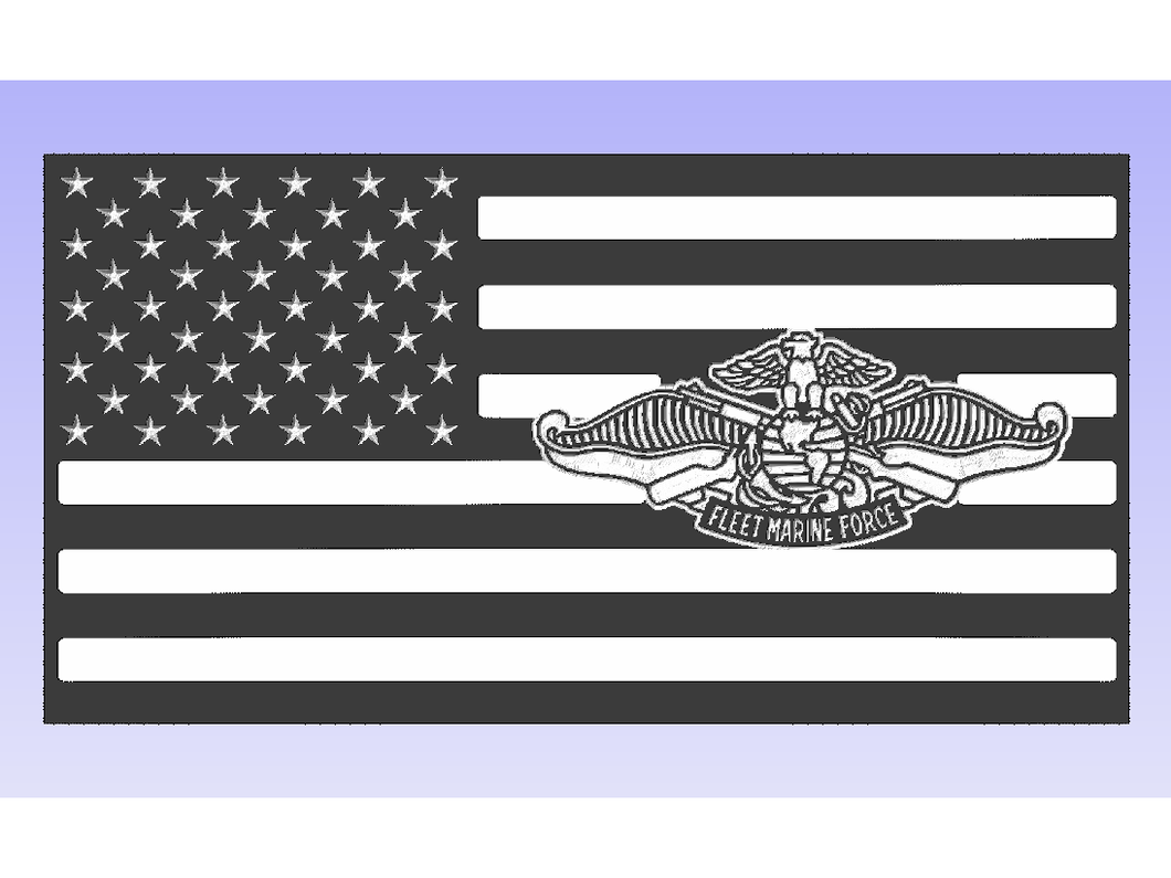 Fleet Marine Flag - South City Woodworks wooden american flag military law enforcement first responder firefighter army navy air force marines retirement gift st louis custom personalized