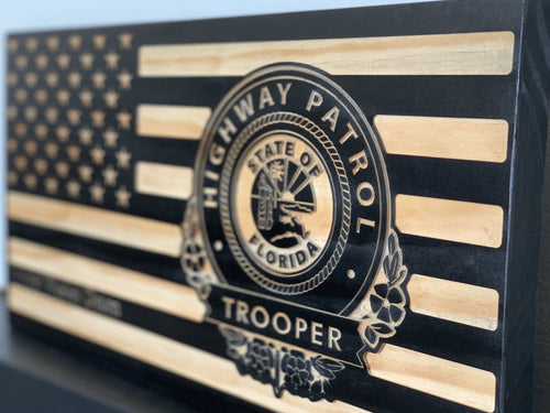 Florida Highway Patrol Flag - South City Woodworks wooden american flag military law enforcement first responder firefighter army navy air force marines retirement gift st louis custom person