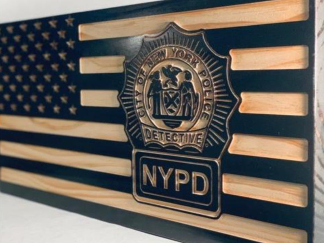 NYPD Detective Flag - South City Woodworks wooden american flag military law enforcement first responder firefighter army navy air force marines retirement gift st louis custom personalized