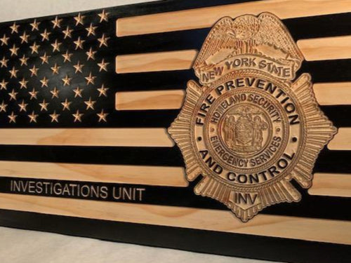NYS OFPC Flag - South City Woodworks wooden american flag military law enforcement first responder firefighter army navy air force marines retirement gift st louis custom personalized