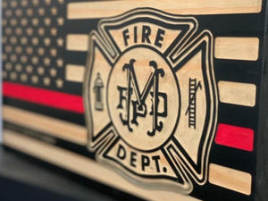 Mehlville Fire Department Flag - South City Woodworks wooden american flag military law enforcement first responder firefighter army navy air force marines retirement gift st louis custom per