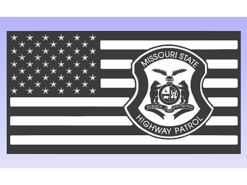 Missouri Highway Patrol Flag - South City Woodworks wooden american flag military law enforcement first responder firefighter army navy air force marines retirement gift st louis custom personalized