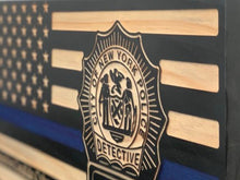 Load image into Gallery viewer, NYPD Detective Flag - South City Woodworks wooden american flag military law enforcement first responder firefighter army navy air force marines retirement gift st louis custom personalized