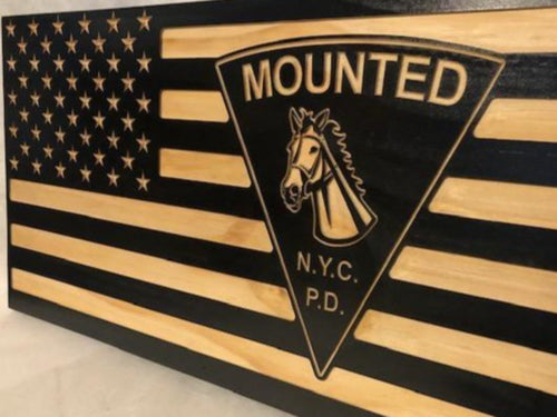 NYPD Mounted Unit Flag - South City Woodworks wooden american flag military law enforcement first responder firefighter army navy air force marines retirement gift st louis custom personalize