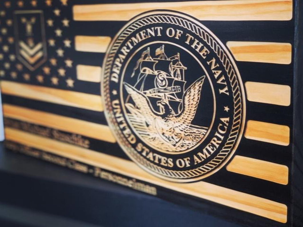 Department Of The Navy Rank Flag - South City Woodworks wooden american flag military law enforcement first responder firefighter army navy air force marines retirement gift st louis custom p