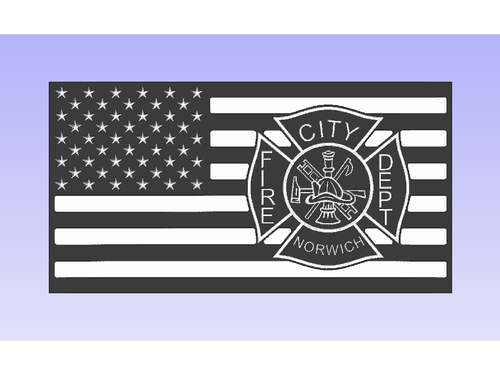 Norwich Fire Dept - South City Woodworks wooden american flag military law enforcement first responder firefighter army navy air force marines retirement gift st louis custom personalized