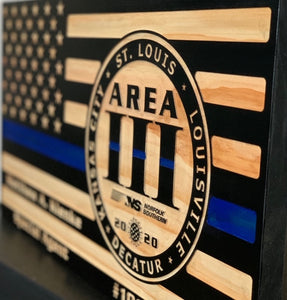 NSPD Railroad Police Area Flag - South City Woodworks wooden american flag military law enforcement first responder firefighter army navy air force marines retirement gift st louis custom per