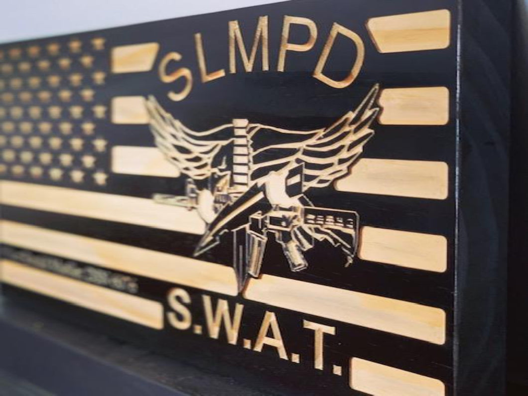 SLMPD S.W.A.T Flag - South City Woodworks wooden american flag military law enforcement first responder firefighter army navy air force marines retirement gift st louis custom personalized