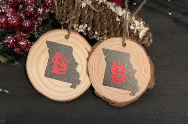 STL Christmas Ornament - South City Woodworks wooden american flag military law enforcement first responder firefighter army navy air force marines retirement gift st louis custom personalize