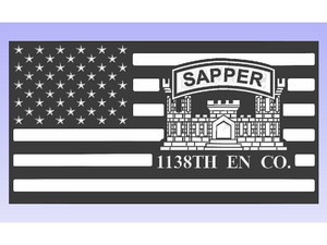 Sapper Flag - South City Woodworks wooden american flag military law enforcement first responder firefighter army navy air force marines retirement gift st louis custom personalized