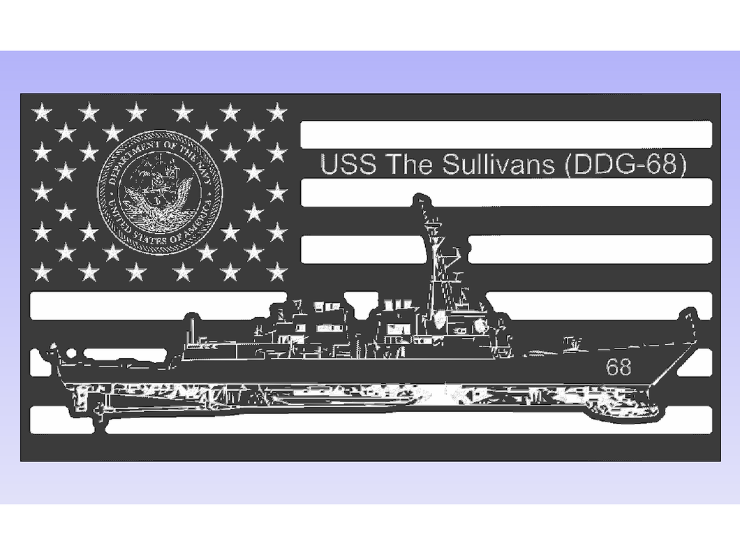 USS The Sulivans - South City Woodworks wooden american flag military law enforcement first responder firefighter army navy air force marines retirement gift st louis custom personalized
