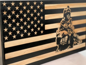 American Soldier Flag - South City Woodworks wooden american flag military law enforcement first responder firefighter army navy air force marines retirement gift st louis custom personalized