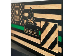 Army Combat Medic Flag - South City Woodworks wooden american flag military law enforcement first responder firefighter army navy air force marines retirement gift st louis custom personalize