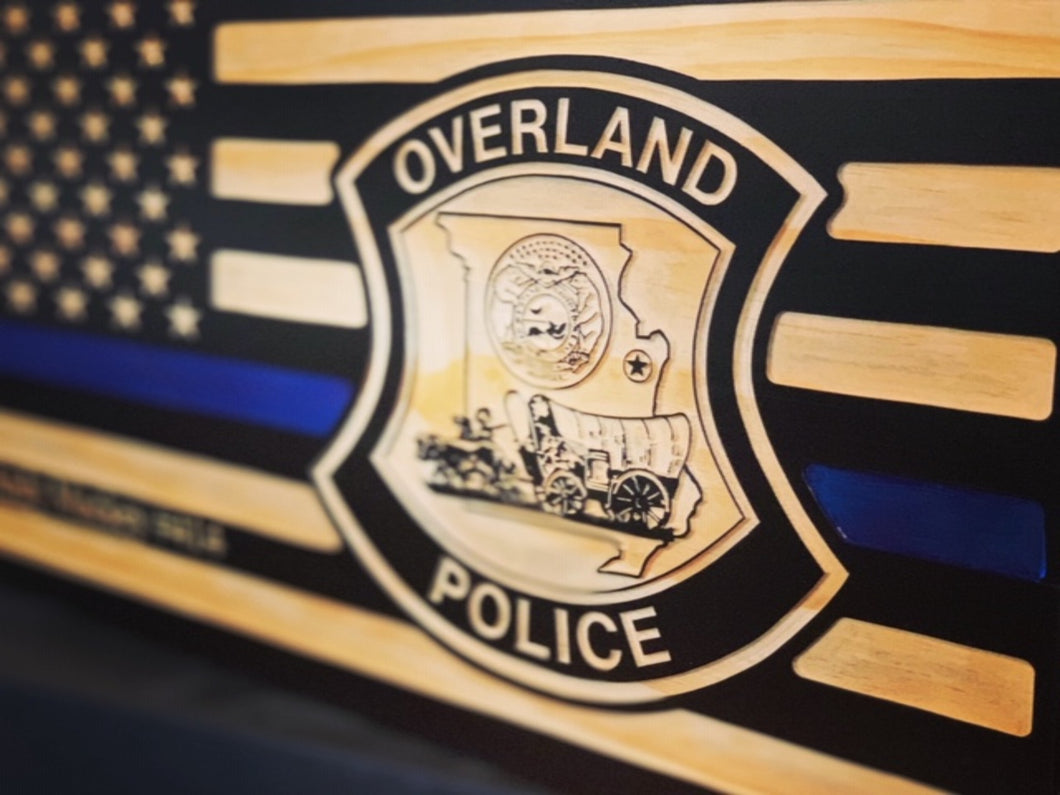 Overland PD Flag - South City Woodworks wooden american flag military law enforcement first responder firefighter army navy air force marines retirement gift st louis custom personalized
