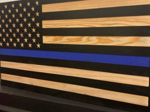 Thin Blue Line Flag - South City Woodworks wooden american flag military law enforcement first responder firefighter army navy air force marines retirement gift st louis custom personalized